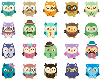 Owl Clip art, digital owls clipart, cute, sweet and colored