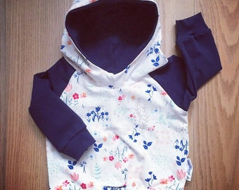 READY-to-go Hoodie for baby and child, on grounds of flowers pink and Navy made by a MOM