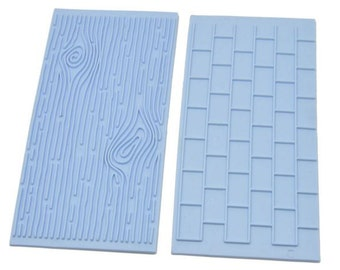 Brick & Wood Effect Embossing Sugarcraft Mould Mats - pack of 2 1 of each grain