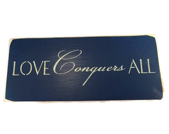 Love Conquers All Sign - Custom Colors -  Painted Wooden Sign - Latin Quote - Love Sign - Wedding Signs - Inspirational Signs