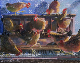 "Chicken print, fine art giclee print of chickens playing ""Chopsticks"""