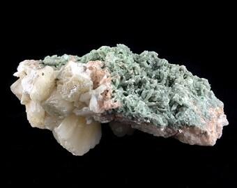 Heulandite, Stilbite, Celadonite, Calcite Crystal Cluster Zeolites from India  A443