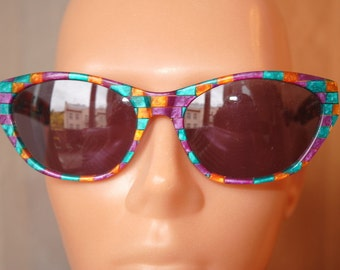 Vintage Enrico Coveri cat eye purple turquoise green sunglasses