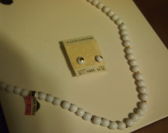ON SALE-1960'S white lucite beaded necklace and earring set-WAS 18