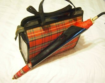 Vintage 1960's Preppy red plaid purse with attached & original umbrella