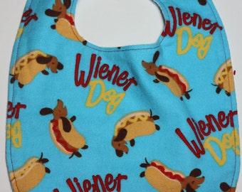 Soft Reversible Magnetic Baby/toddler Bib- hotdog/weiner dog print