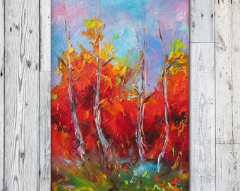 Landscape Oil Painting, Tree Wall Art,  Frame art, Oil painting, Birch Tree Forest, Canvas wall Art, Kitchen Wall Decor, Abstract Canvas Art