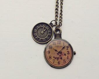 steampunk clocks necklace