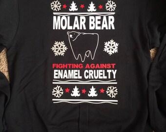 Molar Bear Fighting Enamel Cruelty Dentist Office Humor Holiday Sweater