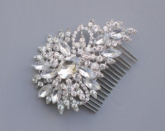 Silver Wedding Comb, Bridal Hair Comb, Crystals Hair Comb, Rhinestone Comb, Bridal Crystal Comb, Wedding Crystal Hair Comb, Hair Comb