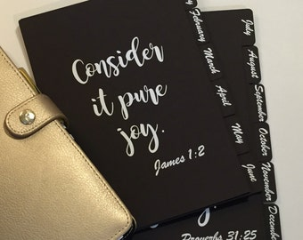 12 Tab CUSTOM Black Planner Dividers / A5 and Personal