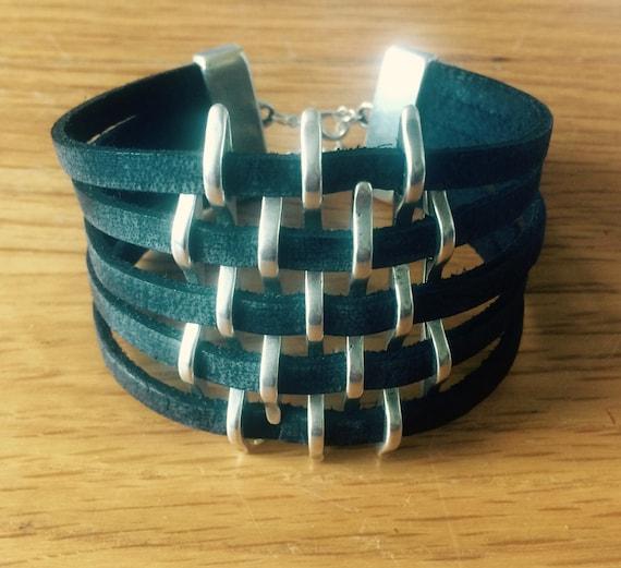Leather basket weave cuff bracelet