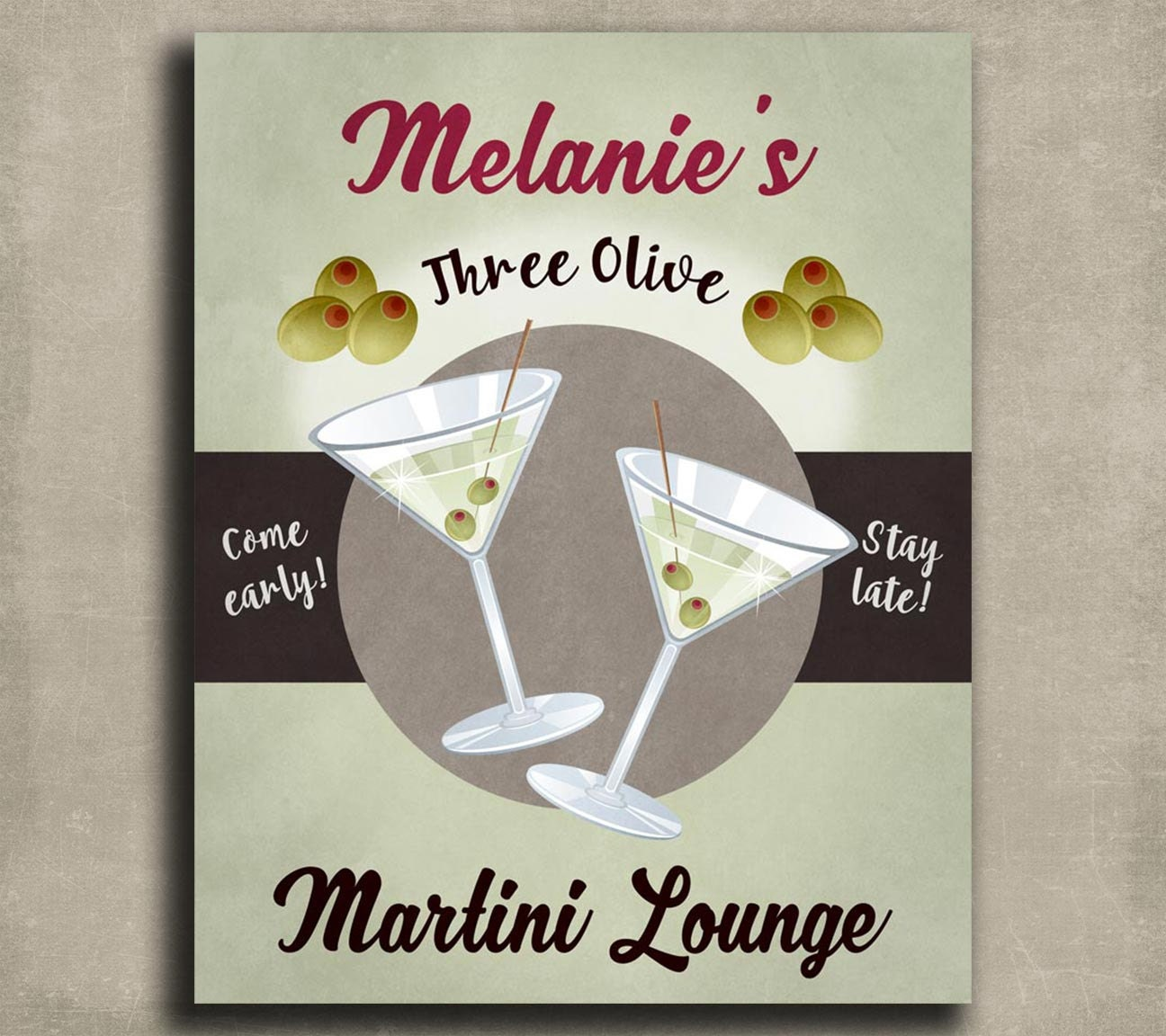 Personalized Martini Sign Kitchen Wall Art Bar Gift For Friend