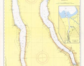 1956 Nautical Map of New York Finger Lakes