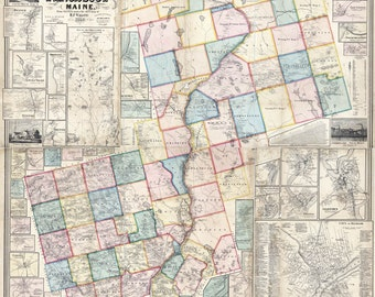 1859 Map of Penobscot County Maine Landowners