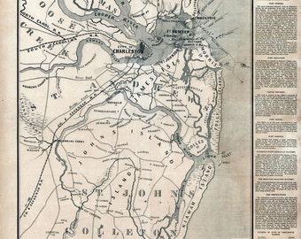 1863 Map of Charleston Harbor South Carolina Landowner Names
