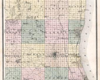 1885 Map of Lake County Illinois