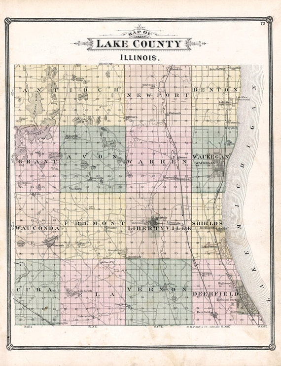 1885 Map Of Lake County Illinois