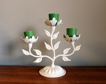 Shabby Chic Floral Candle Stick - Three Candle