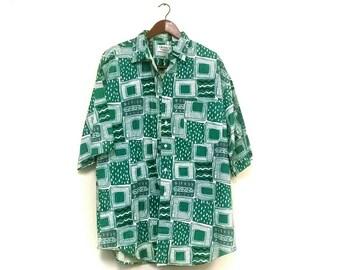 1980s abstract button down shirt // 1980s 1990s hipster shirt   // green hipster shirt 80s