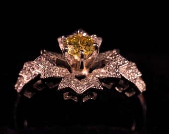 Art Deco natural yellow diamond vintage 0.5ct solitaire ring micro pave diamonds 750 18k solid gold.