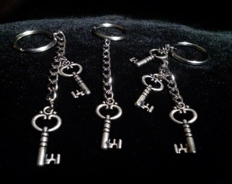 Set of Three Silver Skeleton Keys  Keychains/Skeleton Keys/Keychains/Key Ring/Accessories/Key Accessories/Skeleton Keys/Friendship Keychains