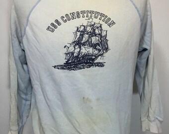 60's vintage uss consititution distressed sweatshirt raglan sleeve