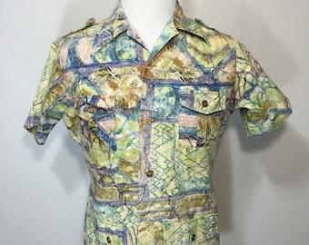 70's vintage all over print hawaiian safari shirt 100% cotton