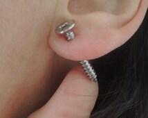 Silver screw, double earrings,Screw Earrings, 3D Earrings, Earrings, Bohemian Earrings, Tool Earrings, Silver Tone, Gothic Earring,