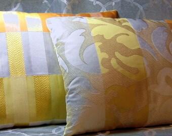 Set of 2 Silk Yellow-White-Orange Decorative Pillows