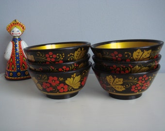 Soviet Vintage Khokloma Wooden Bowls. Set of 6, Russian Pattern Hand Painted Wooden Bowls.