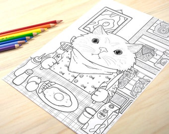 Adorable fat cat enjoying its breakfast - Adult Coloring Page Print