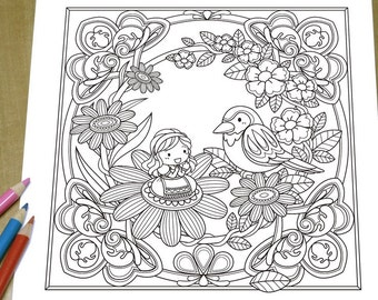 Thumbelina - Adult Coloring Page Print