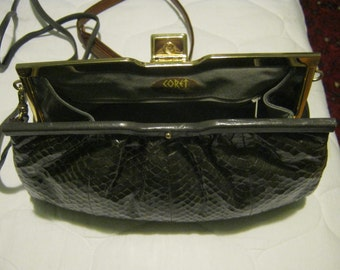 Faux Leather Snake Skin Like Clutch (Vintage)
