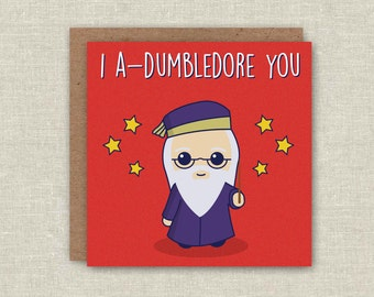 Valentines Day Card, Harry Potter Valentines Card, Card for Her, Card for Him, Funny Valentines Day Card - I Adumbledore You