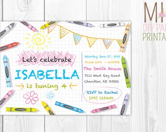 Crayon Invitation, Colorful Birthday Invitation, Birthday Party Invitation, Birthday Invitation
