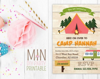 Camping Party Invitation 3,Camping Invitation, Camping Invite, Glamping Invitation, Girls Camping Invitation, Glamping Invite