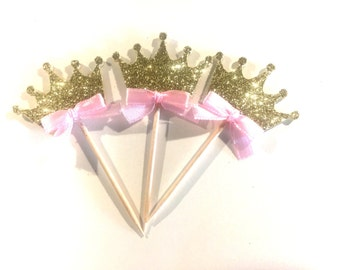 Crown cupcake toppers, glitter crowns, princess cupcake toppers, pricess party