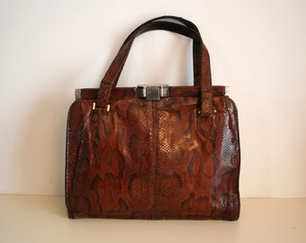 Former handbag genuine leather PYTHON vintage leather bag