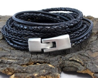 Leather Bracelet braided black for men