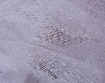 Wedding Dress Craft Lovely Soft Mesh Net Tulle Lace Fabric Off White Dots 1yd #