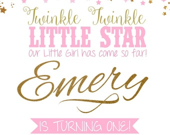 Twinkle Twinkle Little Star Themed Birthday Invitation