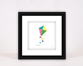 Colorful Kite Print - Wall Decor - Nursery - Child Room