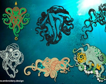 Octopus embroidery designs pack #1 (collection of 6)