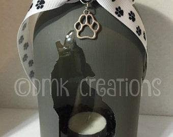 Howling Husky Painted Mason Jar Tea Light Candle Holder, husky, howling, mason jar, candle holder, tea light, Siberian husky, dog, cute