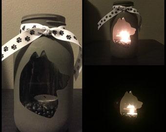 Husky Head #1 Mason Jar Tea Light Candle Holder, Siberian husky, husky, tea light, candle holder