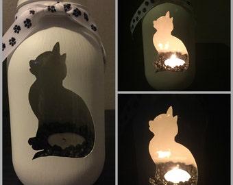 Cat #1 Mason Jar Tea Light Candle Holder