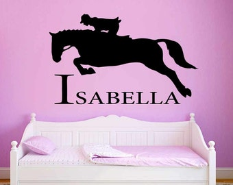 Personalised Name & Horse Wall Stickers, Girls Boys Bedroom Playroom Wall Art Decal