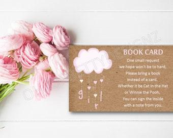 Baby Shower Book Card Instant Download - Rustic Kraft Paper Bunny Rabbit Pink Girl - DESIGN 063