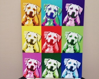 "Smiling Pit Bull 8.5"" x 11"" Pop Art Print - FREE SHIPPING"
